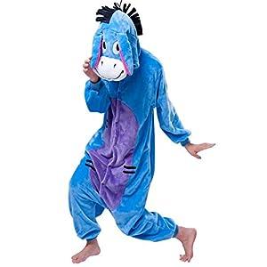 Afoxsos Women's Cosplay Flannel Animal Cartoon Onesie Adult Pajamas Donkey