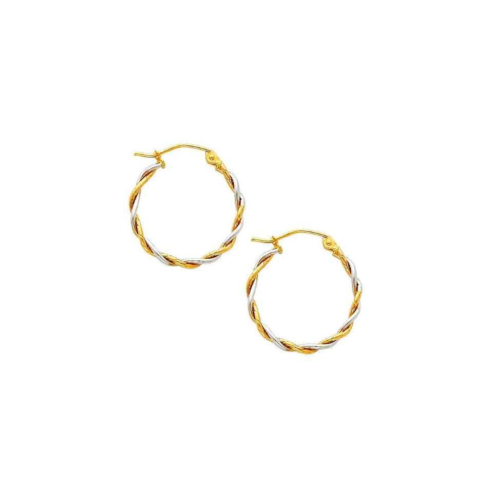 14k Two Tone Gold 1.5mm Thickness Twisted Hoop Earrings (17 x 17 mm)