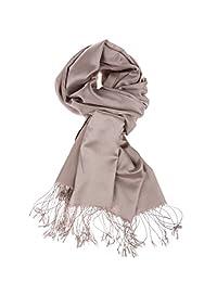 Luxury Silk Pashmina Scarf   Silky Soft Elegant Wrap   Stylish Solid Colors Unisex Men Women  Vegan Hypoallergenic Quality (Platinum Gold)