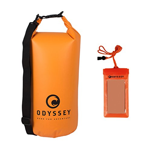 ODYSSEY Waterproof Roll Top Dry Bag w/Free Water Proof Cell Phone Case (Coast Guard Orange, 20...