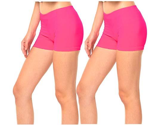 Gilbins 2 Pack Women's Seamless Stretch Yoga Exercise Shorts Fuchsia