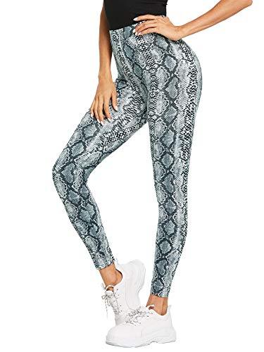 SweatyRocks Leggings Women Yoga Workout Pants High Waist Snake Print Tights Multicolour XS Black Snake Skin Print