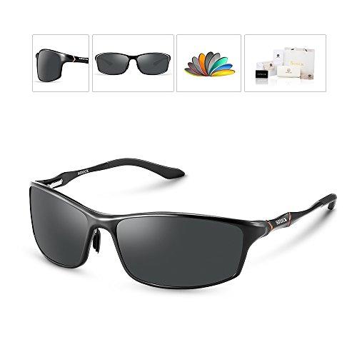 Soxick Polarized Sunglasses for Men UV400 Al-Mg Metal Classic Retro Wayfarer - Uv Protection Sunglasses Highest