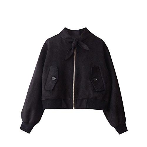 Invierno piel floja chaqueta Chaqueta negro mujeres delgadas video t-shirt Negro