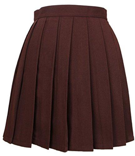 Unie Plisse Jupe de Soire Femme Couleur Taille Haute Party Mini Marron Jupes t Cocktail ARqYHZwq