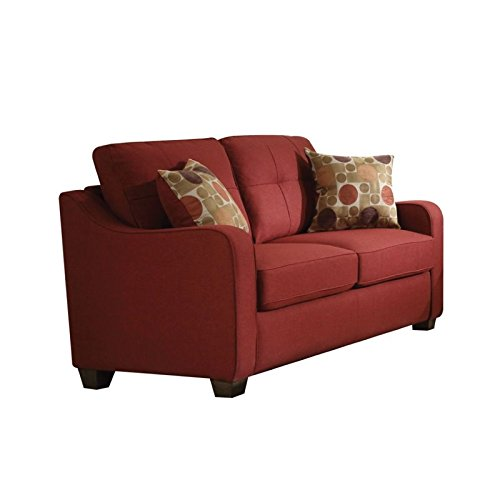 ACME Furniture 53561 Cleavon II Loveseat with 2 Pillows, Red Linen by Acme Furniture (Image #1)