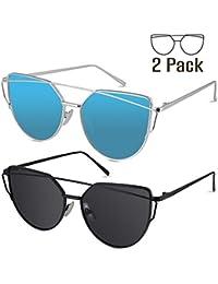 Sunglasses for Women, 2 Pack Cat Eye Mirrored Flat Lenses Metal Frame Sunglasses UV400