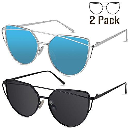 Livhò Sunglasses for Women, 2 Pack Cat Eye Mirrored Flat Lenses Metal Frame Sunglasses UV400 (Black Gray + Silver Deep - Blue Gray Cat