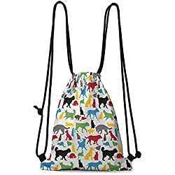 Multi-function Bag Kids,Colorful Cats and Dogs Animal Silhouettes Domestic Pets Cartoon Canine Characters, Multicolor W13.8 x L17 Inch Small Bag