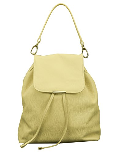 6Glam Borsa zainetto in pelle beige, manico staccabile Made in Italy