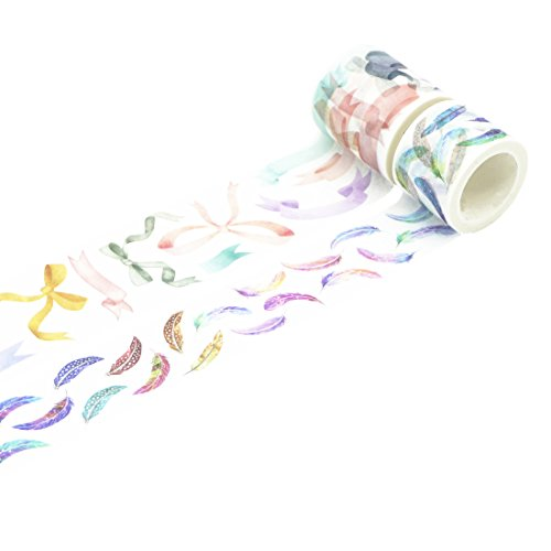 Masking Tape Washi Tape Set 2 Rolls for DIY Journal Diary Planner (Bowknot and Feather) ()