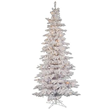 Amazon.de: 9 \'Beleuchteter beflockt weiß Fichte Slim Weihnachtsbaum ...