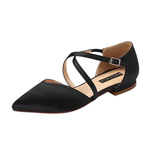 - ERIJUNOR E0012 Pointy Toe Flats D-Orsay Low Heel Pumps Satin Wedding Evening Prom Dress Shoes Black Size 11