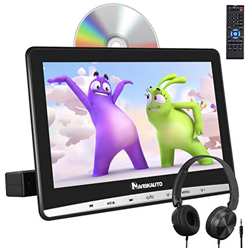 "NAVISKAUTO 12"" Car DVD Player with Free Headphone, 1366x768 HD Screen and Inhalation Drive Support Sync Screen, AV in & Out, Last Memory, Region Free"