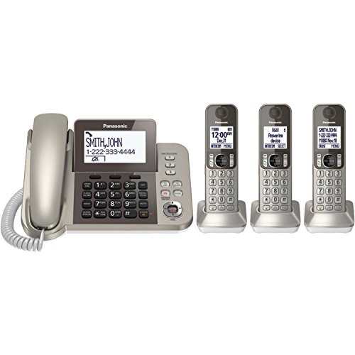 (PANASONIC Corded/Cordless Phone System with Answering Machine and One Touch Call Blocking – 3 Handsets - KX-TGF353N (Champagne Gold))