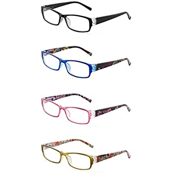 39a9c43b9242 JM 4 Pack Ladies Reading Glasses Spring Hinge Fashion Floral Readers for  Women +2.75 Mix Color