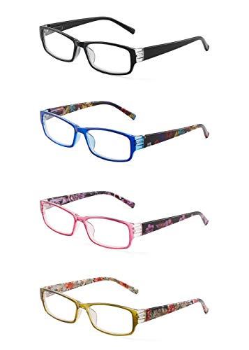 (JM 4 Pack Ladies Reading Glasses Spring Hinge Fashion Floral Readers for Women +4.0 Mix Color)