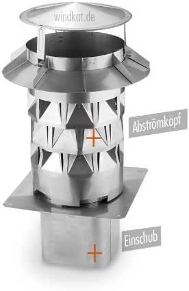 Windkat - Terminal de chimenea (diámetro 200 con piezas de inserción diámetro 196 mm, cuadrado, acero inoxidable): Amazon.es: Bricolaje y herramientas