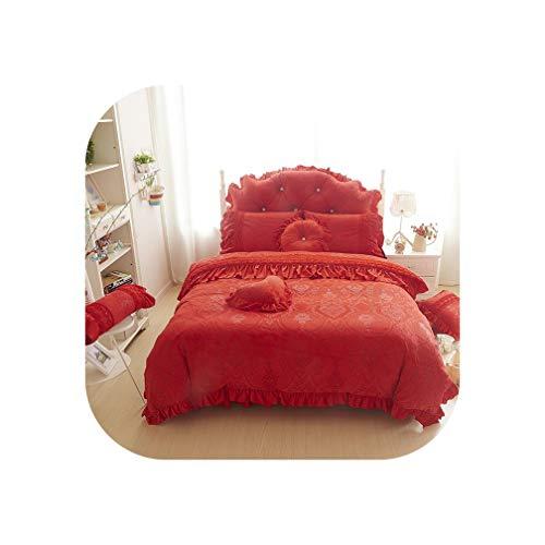 4/6pcs Princess Style Velvet Bedding Sets Cotton Warm Bed Linens Full Queen King Lace Flower Duvet Cover+Bedskirt+Pillowcases,Red,Full Size 4pcs