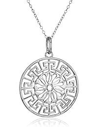 Sterling Silver Greek Key Medallion Pendant Necklace