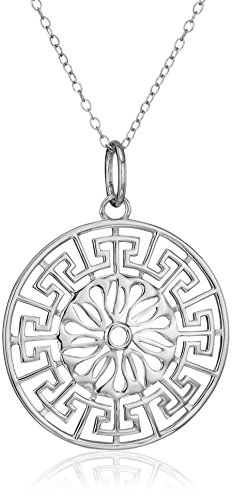 Sterling Silver Greek Key Medallion Pendant (Sterling Silver Greek Key Pendant)