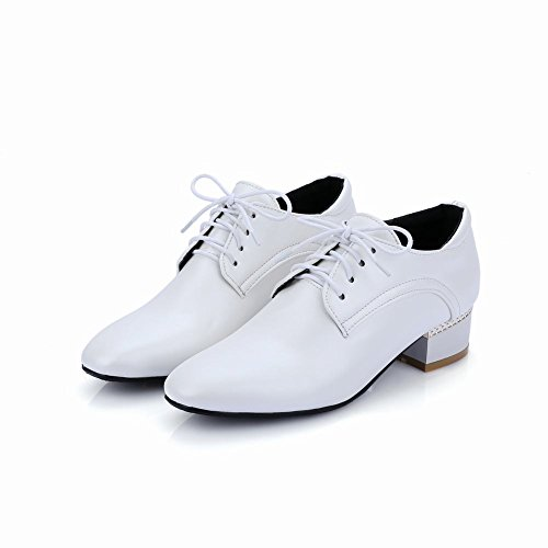 Carolbar Womens Lace up Fashion Square Toe Comfort Chunky Mid Heel Oxfords Shoes White VObg0hSp