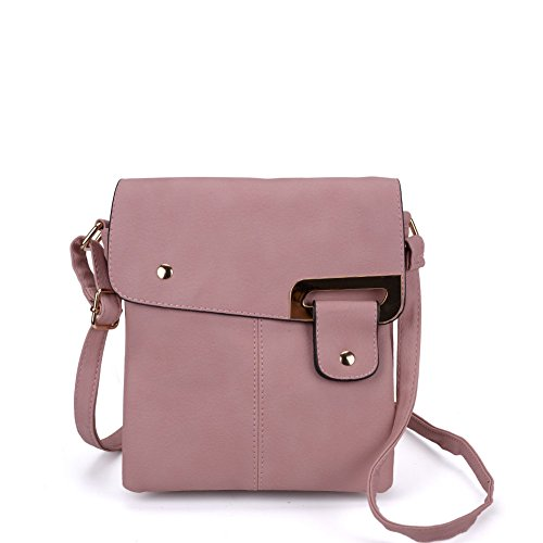SALLY YOUNG Fashion Women Classic High Quality PU Leather Flap Cross Body Bags Messenger Bags Pink