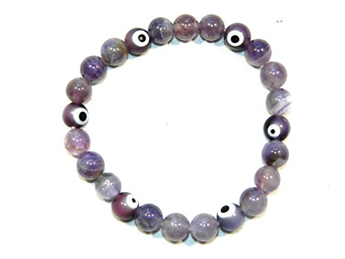 A2-0076 - Amethyst Gemstone Bracelet with Lucky Evil Eye Beads Handmade by Jeannieparnell