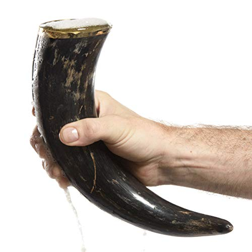 "AleHorn – The Original Handcrafted Authentic Viking Drinking Horn - 12"" Natural - for Beer, Mead, Ale – Medieval Inspired – Food Safe Vessel - Curved Style with Stand from Ale Horn"