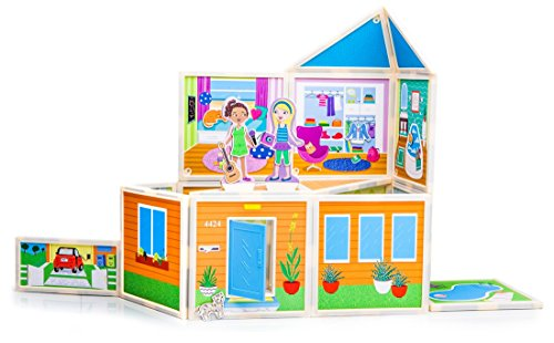 Build & Imagine: Malia's House (award-winning magnetic dollhouse you design yourself) (Right Panels Angle)