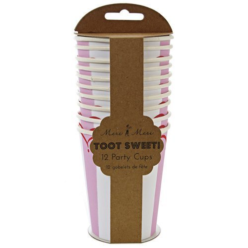 Meri Meri Toot Sweet Pink Stripe Party Cups, Set of 12
