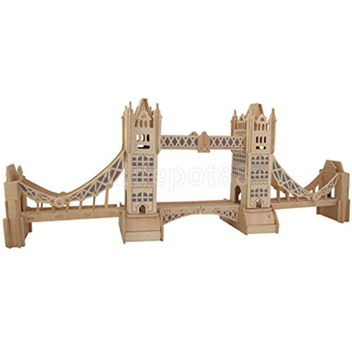 3D Wood Puzzle Wooden Model London Tower Bridge Jigsaw Woodcraft Kids Toy