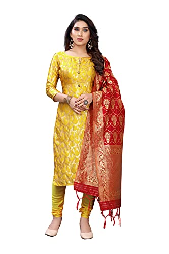 RARA Women's Blend Silk Unstiched Dress Material With Banrasi Dupatta