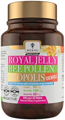 Bioactive Royal Jelly+Bee Pollen+Propolis Ultra Strength Immune&Energy Booster, Chewable
