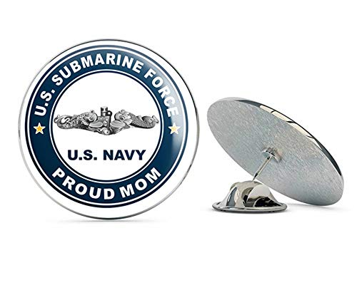 - US Navy US Submarine Force Proud Mom Silver Dolphins Military Veteran USA Pride Served Gift Metal 0.75
