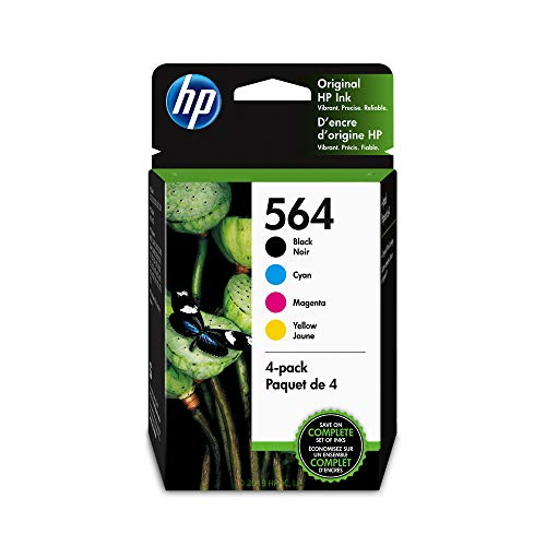 HP 564 Black, Cyan, Magenta & Yellow Ink Cartridges, 4 Cartridges (NA3YQ22AN) (Ink Hp Printer Photosmart)