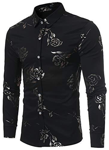 Graphic Floral Design - HOP Mens Rose Print Shirt Luxury Gold Design Long Sleeve Slim Fit Button Down Shirts HOPM305-Black-XXL