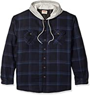 Wrangler mens Long Sleeve Quilted Lined Flannel Shirt Jacket W/ Hood Button-Down Shirt