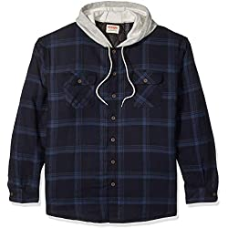 Wrangler Authentics Men's Long Sleeve Quilted Lined Flannel Shirt Jacket with Hood, Total Eclipse With Heather Gray, X-Large