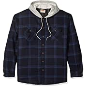 Wrangler mens Long Sleeve Quilted Lined Flannel Shirt Jacket W/ Hood