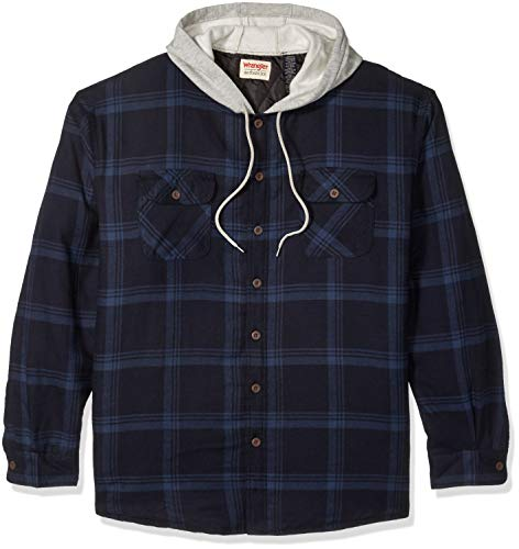 Wrangler Authentics Men's Long Sleeve Quilted Lined Flannel Shirt Jacket with Hood, Total Eclipse With Heather Gray, Small