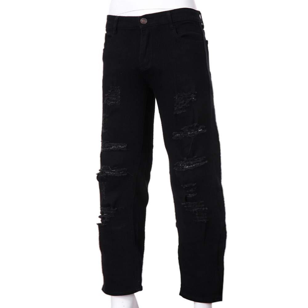 YanHoo Pantalones Vaqueros Slim fit elásticos Rasgados de los Hombres destruidos Pantalones Vaqueros Slim fit con Cinta desgastada Pantalones de Jogging ...