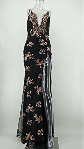 Jupe Col Sling V Sequins Retour Longue Rosée W Sol Soirée Femmes xl De pink Split amp;tt Black Robe Drag Deep xzwqxtvY