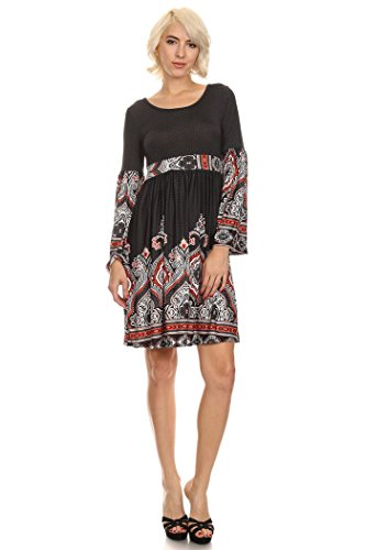 Floral Print Banded Empire Dress (Women's Tapestry Printed,Knit Dress With Banded Empire Waist Bell Style Sleeves (M, Black/Grey/Red Border Printed))