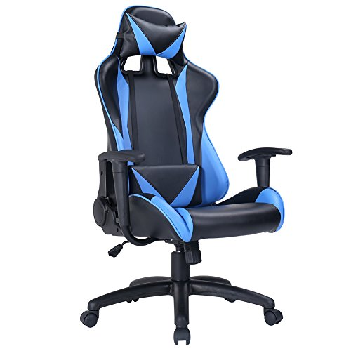 Zenith High Back PU Leather Swivel Gaming Chair with Adjustable Armrest Lumbar Support Headrest Racing Office Chair (Blue) Zenith