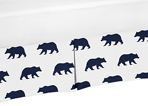 Sweet Jojo Designs Navy Blue and White Pleated Toddler Bed Skirt Dust Ruffle for Big Bear Collection by Sweet Jojo Designs