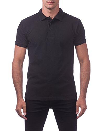 Pro Club Men's Pique Polo Cotton Short Sleeve Shirt, Black, -