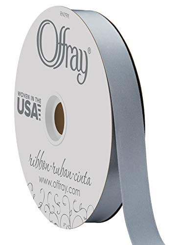 "Berwick Offray 7/8"" Wide Double Face Satin Ribbon, Dusty Blue, 100 Yards"