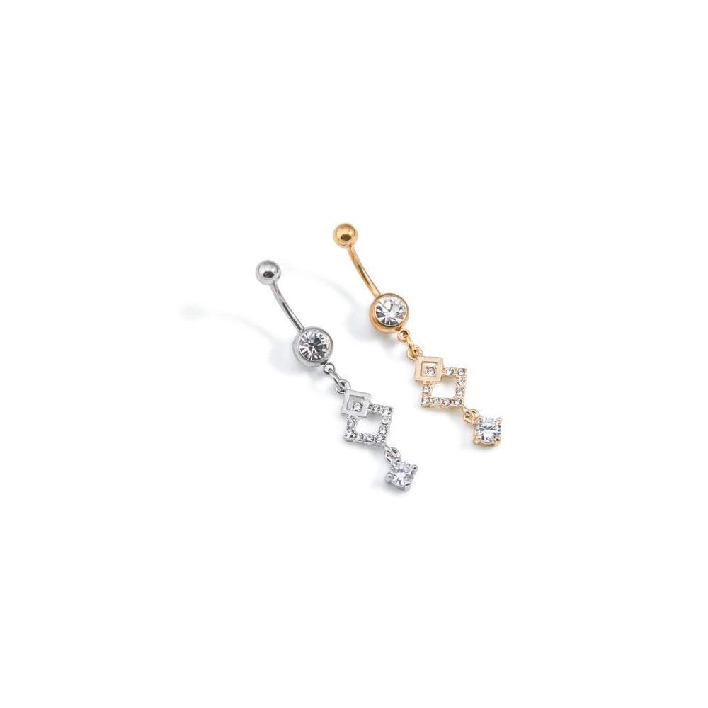 """Painful Pleasures Externally Threaded 14g 7//16/"""" Silver Plated Steel Navel Jewelry with Overlapping Jeweled Diamond Charm"""