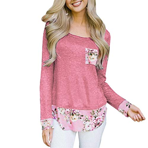 ANJUNIE Women's Long Sleeve Round Neck Shirt Casual Basic Print Flower Stitching Tops(Pink,L)